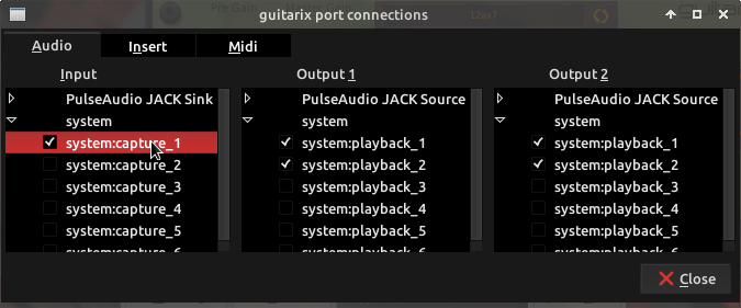 guitarix in/out ports